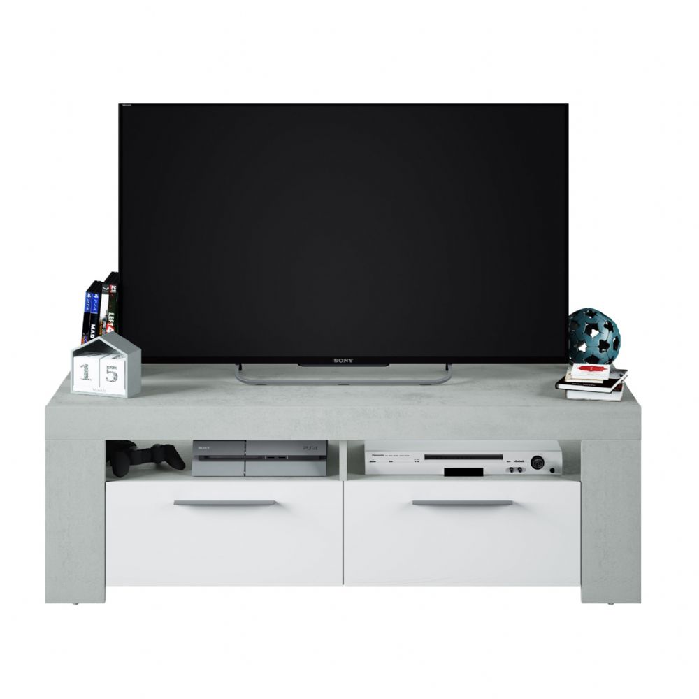 Curro White Gloss and Grey TV Cabinet Entertainment Unit - 2905